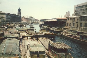 Hang Pu River mit den Hausbooten